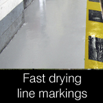 Fast drying line marking resin paints and coatings