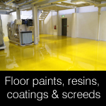 Concrete floor paints, resins, coatings & screeds