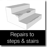 Repairing concrete and stone steps and stairs