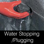 Plugging / stopping / blocking leaks in walls, structures, tunnels and pipes