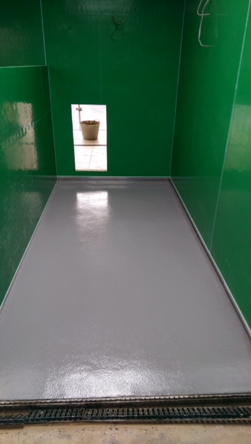 New resin floor screed in puppy kennels - finished