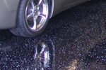 Black gloss sparkling glittery resin garage floor