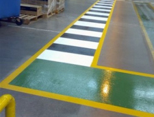 Line marking paints for warehouses