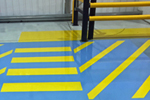 Safety line marking paint for factory floor applied by StepSure